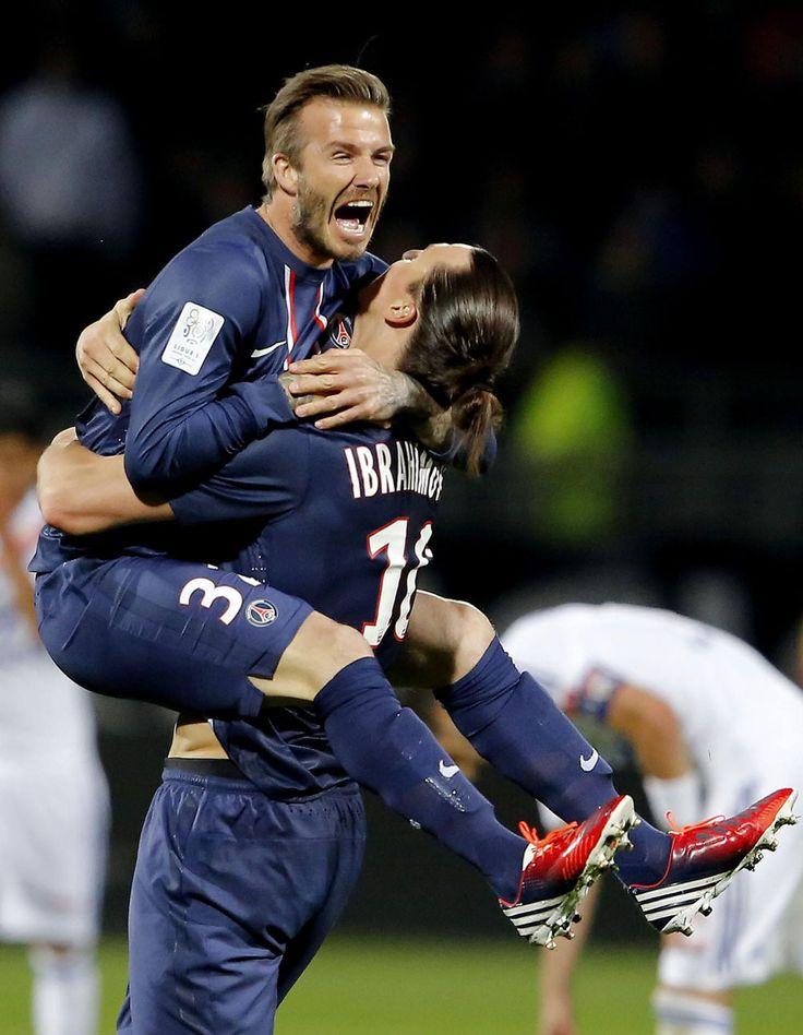 david beckham   David Beckham et Zlatan Ibrahimovic lors de la victoire du PSG en ...