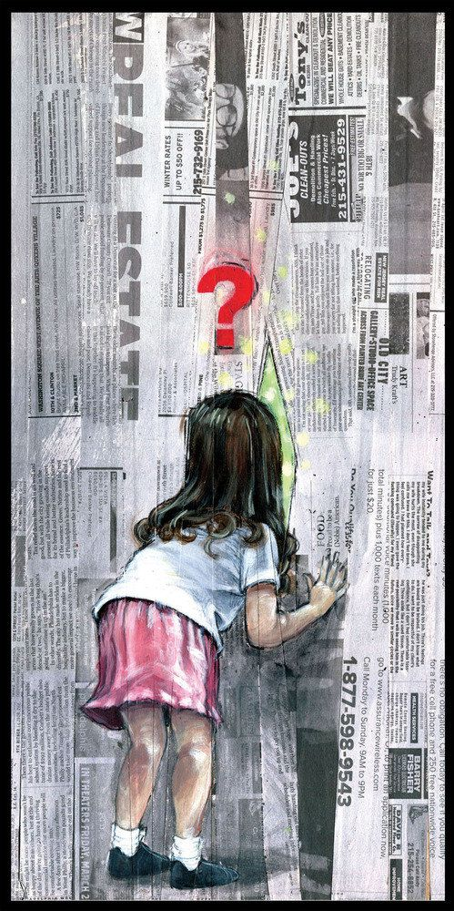 Curious Newspaper Collage Art Print by BlackInkArtz on Etsy, $12.00