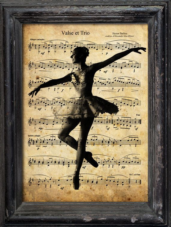 Print Art Collage Mixed Media Gift Ballerina Dance Illustration Ballet Vintage old Music Sheet Paper Reproduction