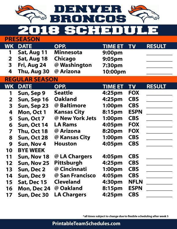 It's just a photo of Agile Denver Broncos Schedule Printable