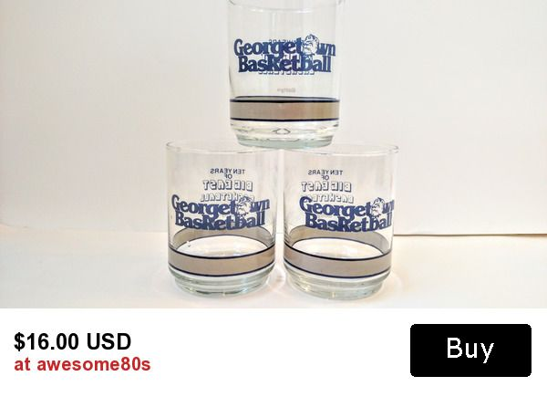 Vintage 1980s Georgetown Hoyas Basketball Big East Conference Getty Promotional Glasses Tumblers Set of 3, Georgetown Un