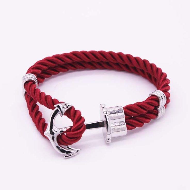 Hot Trendy Gold Silver Braided Rope Anchor Bracelet Men Charm Leather Bracelets & Bangles