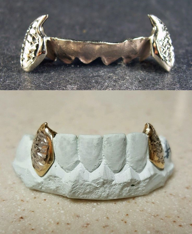 Grillz Dental Grills 152808: 10K Or 14K Solid Gold Custom Made Diamond Cut Fangs Grill Grillz BUY IT NOW ONLY: $195.0