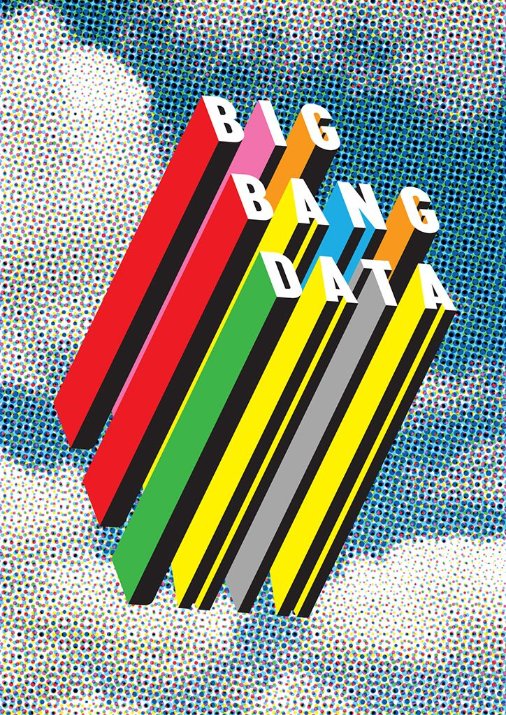 "#poster designed by Morag Myerscough via AIGA; although the ""surface"" of the type uses only white and a familiar font, the different colors and the depths of each letterform adds to the energetic theme. Having 3D blocks stretching down from the letters and the letters facing upper right corner, it looks as though the words are flying up to the right."