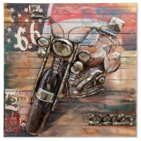 Cuadro la Moto madera pintado a mano retro pop