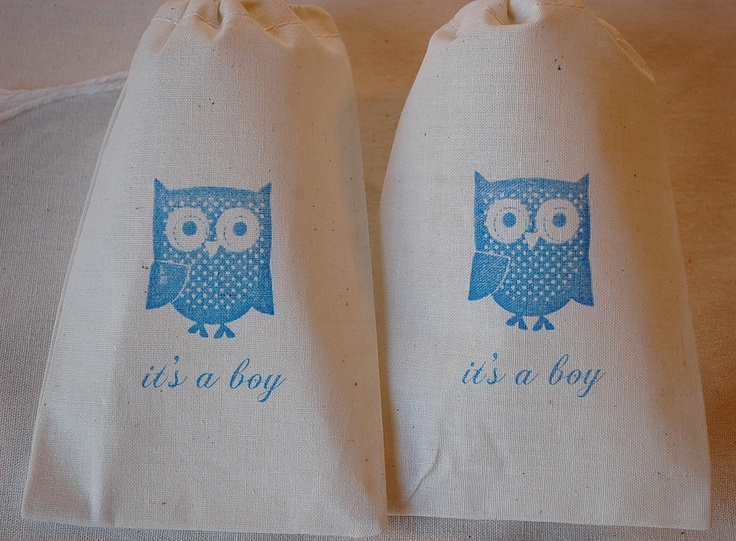 10 It's A Boy Owl Muslin Cotton Favor Gift Bags 4x6 Great for Baby Showers - in Blue. $15.00, via Etsy.