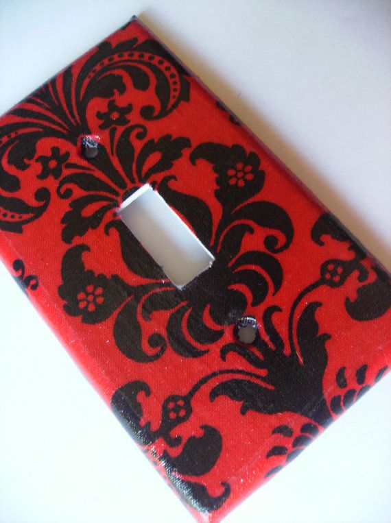 1 Black and Red Damask Single Light Switch by COUTURELIGHTPLATES, $4.95