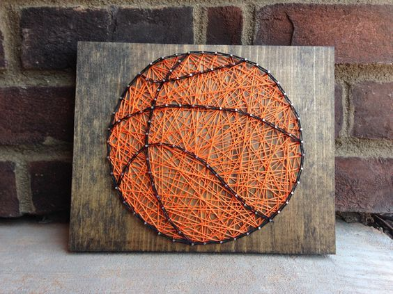 String Art Basketball Sports decor boys room decoration orange wood sign basket ball sport wall Coaches gift teachers gifts Nursery decor from my Etsy shop https://www.etsy.com/listing/456355930/string-art-basketball-sports-decor-boys