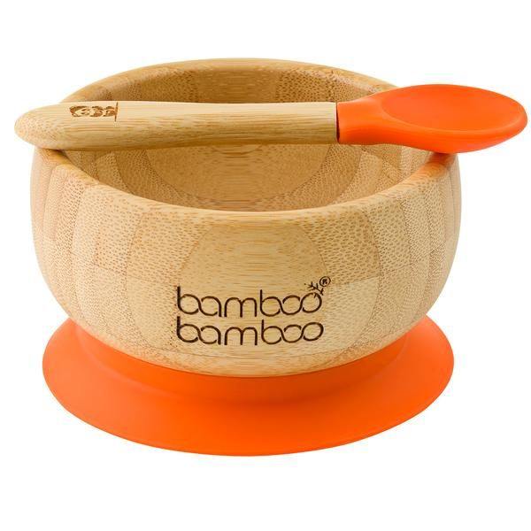 Bamboo Baby Suction Bowl And Spoon In 2020 Suction Bowls Suction Plates Toddler Plates