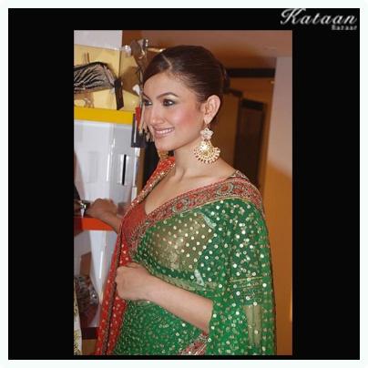 #Gauhar Khan in the vibrant GREEN saree