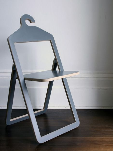 obsessed with these hanger chairs! Fold them up when you don't need them and use them as hangers. OMG.