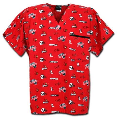 One of my favorite scrub tops!! Louisville Cardinals Allover Print Scrub Top