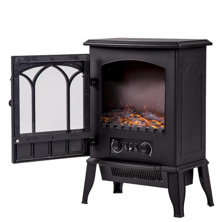 750W/1500W Standing Electric Fireplace Heat Log Flame Stove Portable FP22 #FDW