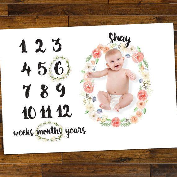 Vloermatten voor Baby leeftijd foto's mijlpaal Floral door ZCDGifts