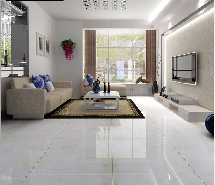 Floor tile living room full cast glazed tiles 800x800 skid Black tile flooring modern living room