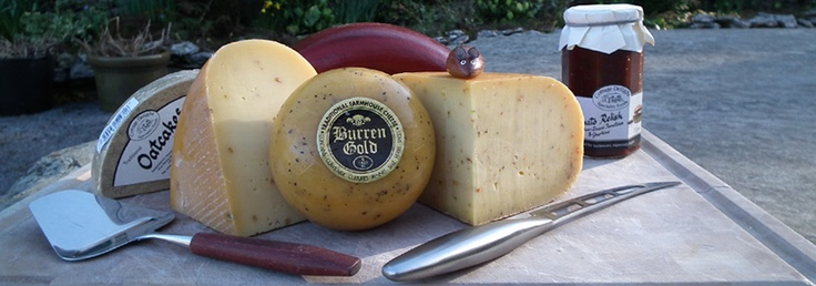 Burren Gold is a Gouda style cheese made from unpasteurised cows milk. The cheese is made at the Ailwee Cave in Ballyvaughan in County Clare by Ben Johnson, and the rounds are waxed by hand[