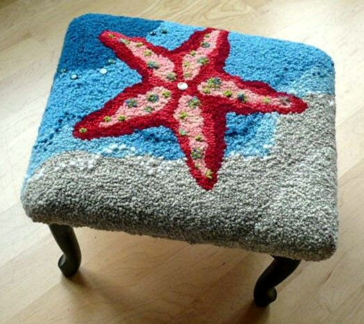 10/2014 HOOKED STARFISH STOOL with pearls and vintage buttons - Susan Ferraro