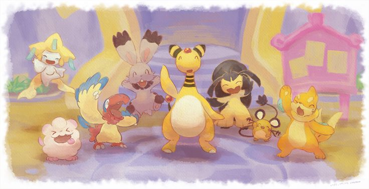 Jirachi, Swirlix, Ampharos, Archen, Bunnelby, Mawile, Dedenne, and Buizel