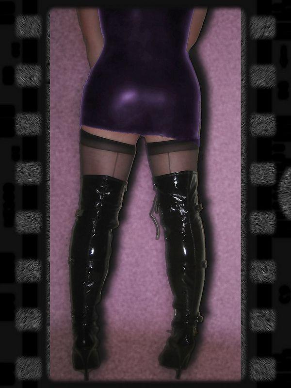 purple latex dress and high heel boots