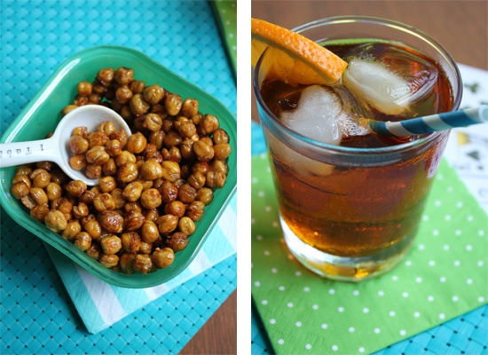 BBQ Roasted Chickpeas + Besides Delicious bourbon cocktail = Stir and Scribble does happy hour right