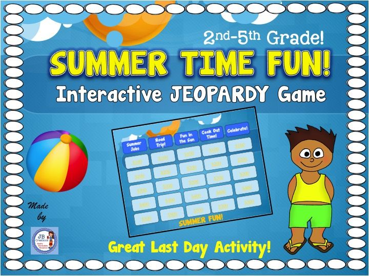 kids jeopardy template - getting ready for summer interactive trivia jeopardy game