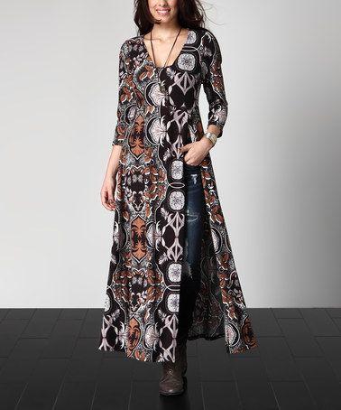 This Black Abstract Empire-Waist Split-Hem Tunic - Plus is perfect! #zulilyfinds