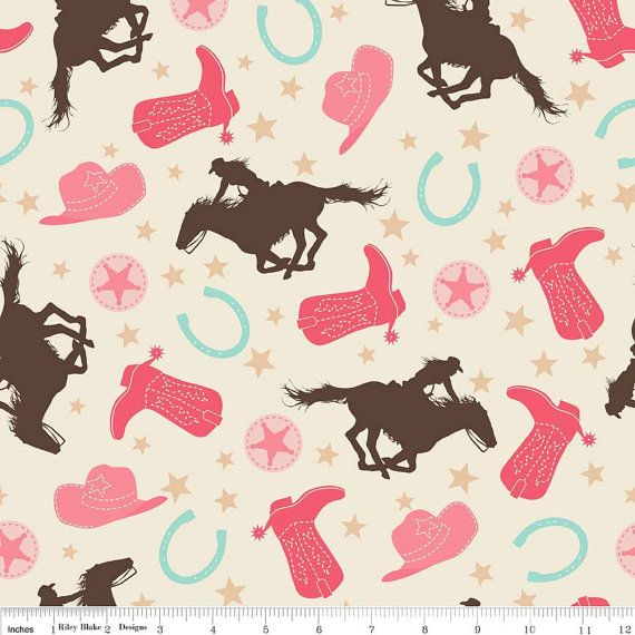 Rodeo Rider Cowgirl Fabric by Samantha Walker for by fabricshoppe