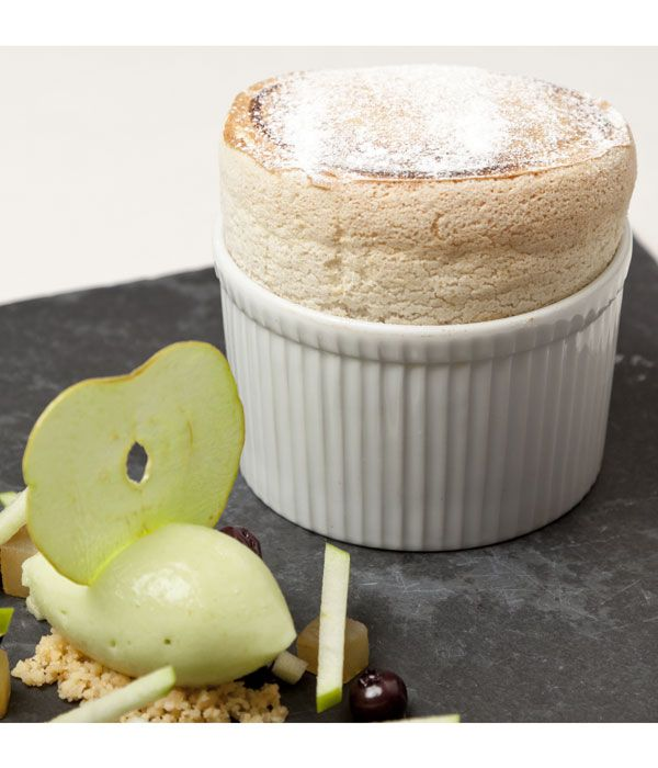 This delicious gingerbread soufflé recipe from Simon Haigh, pairing the airy pudding with a sweet quenelle of apple sorbet. The flavours of apple and ginger are perfectly matched, and this dessert will quickly become a favourite.