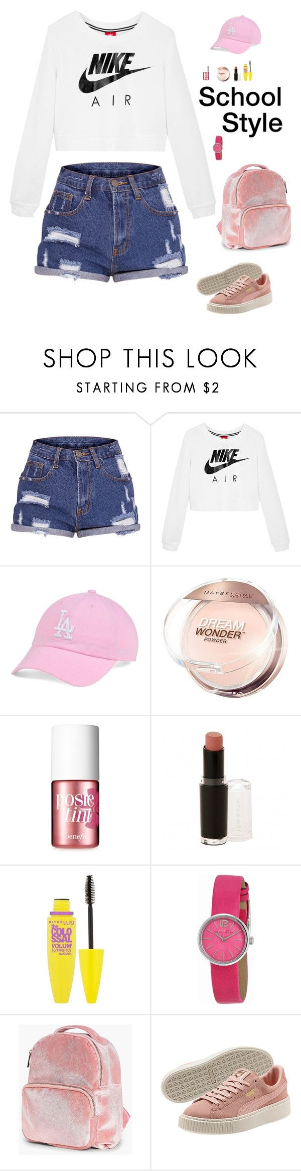 """School Style (3)"" by irisazlou on Polyvore featuring NIKE, '47 Brand, Maybelline, Benefit, Wet n Wild, Marc by Marc Jacobs and Boohoo"