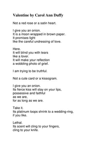 Valentine by Carol Ann Duffy for Secondary years.