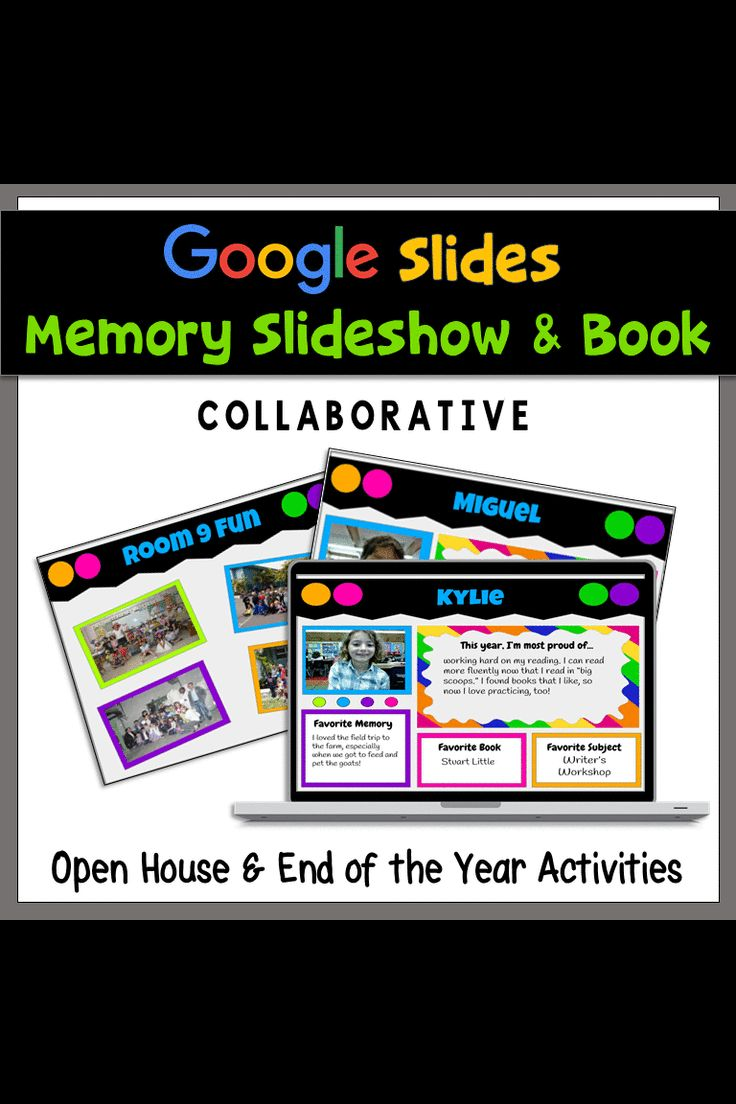 Have you students help make the end of the year slideshow! Use Google Slides to let every student customize their slide. Add class photos and it's perfect for Open House or other end of the year celebrations with parents.
