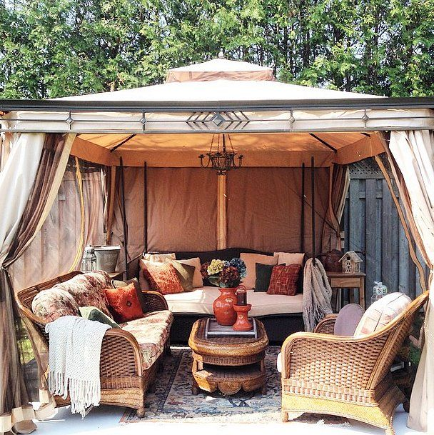 Who says She Sheds have to be made of wood and glass? This glamping tent works just fine as a miniescape.
