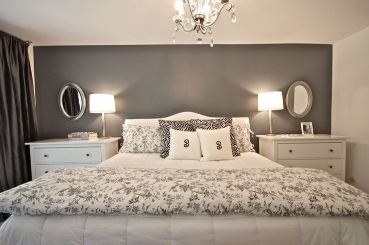 chandelier, grey wall, dark curtains, white nightstands, mirrors and lamps on both sides. PERFECT. Decor, Best Friends, Grey Wall, Wall Decal, Master Bedrooms, Night Stands, Bedrooms Ideas, Gray Wall, Accent Wall