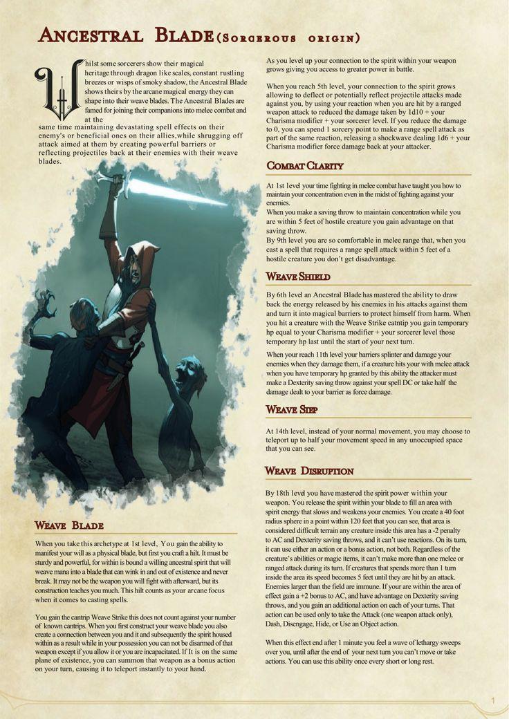 DnD 5e Homebrew — Ancestral Blade Sorcerer based on Dragon ...
