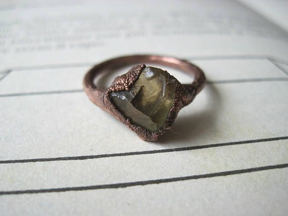 Electroformed ring with citrine quartz size 7.5 / P  copper