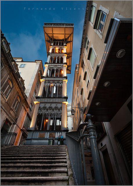 Santa Justa lift tower Lisbon, Portugal designed by Monsieur du Ponsard and apprentice to Gustave Eiffel.