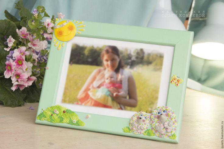 Купить Рамка для фото с ёжиками из полимерной глины - мятный цвет, ежи, еж, ежик, ежики