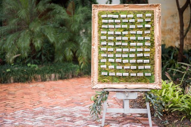 Escort card display | LH Photography | see more on:  http://burnettsboards.com/2015/04/vintage-glam-wedding/