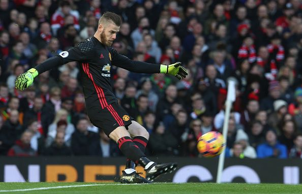 David de Gea of Manchester United in action during the Premier League match between Manchester United and Arsenal at Old Trafford on November 19 2016...
