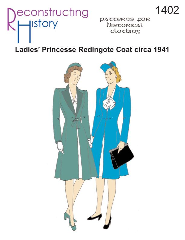 1941 Ladies' Redingote Coat ~ Looking for a simple coat to wear to those Spring WW2 events?  Need a cover-up for the dash through the April Showers to the Swing dance?  Just looking for the perfect coat to top off your vintage look?  Our Ladies' Princesse Redingote Coat is just the thing. Based on an original pattern from 1941, this coat is just past knee-length with flattering princess lines and features two-piece sleeves, tie or single button front closure, and can be made with or without…