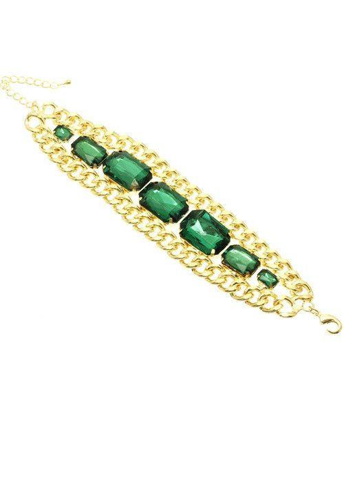 Crystal Link Bracelet (Green) – EvaMaria Boutique