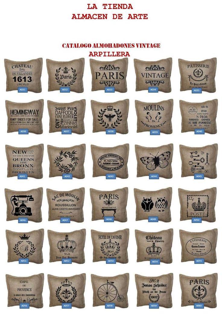 fundas y almohadones arpillera diseños vintage
