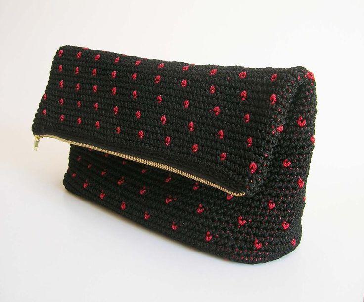 (4) Name: 'Crocheting : Crochet pattern for polka dot clutch.