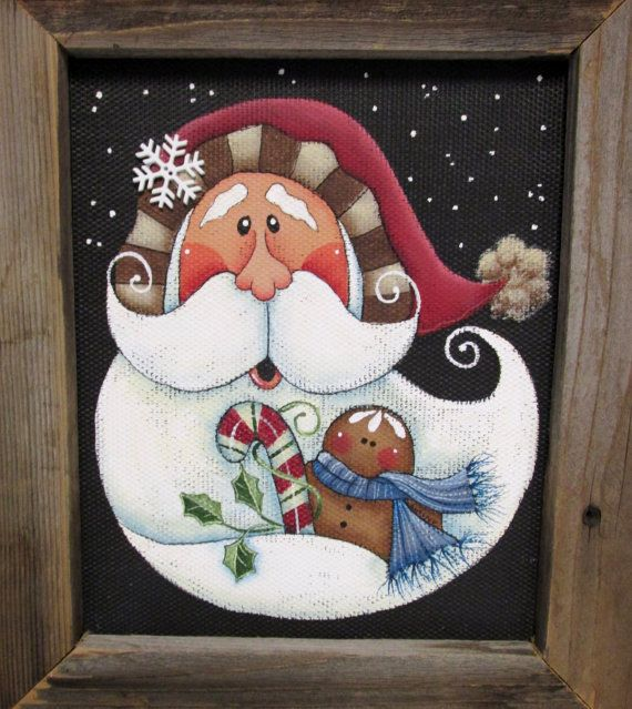 Folk Art Santa with Gingerbread Man and Candy Cane, Tole or Hand Painted, Framed…