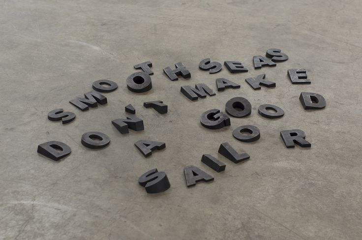 Jan Christensen Smooth Seas Don't Make a Good Sailor, 2014 Bronze, black Various dimensions, flexible floor installation (30 elements) Installation view: Gerhardsen Gerner, Art Basel Hong Kong, Hong Kong, 2014 #janchristensen #bronze #sculpture #akzidenzgrotesk