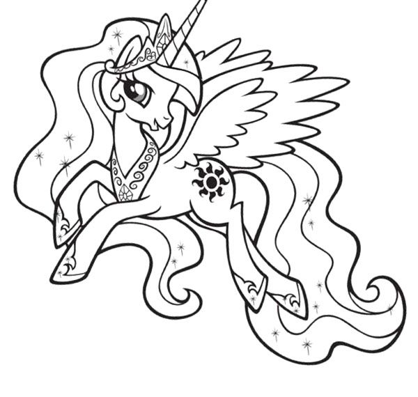 Princess Celestia Coloring Page Acura Pinterest My Pony Coloring Pages Princess Celestia In A Dress