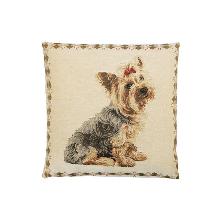 coussins d coratif avec un chien yorshire fond beige. Black Bedroom Furniture Sets. Home Design Ideas