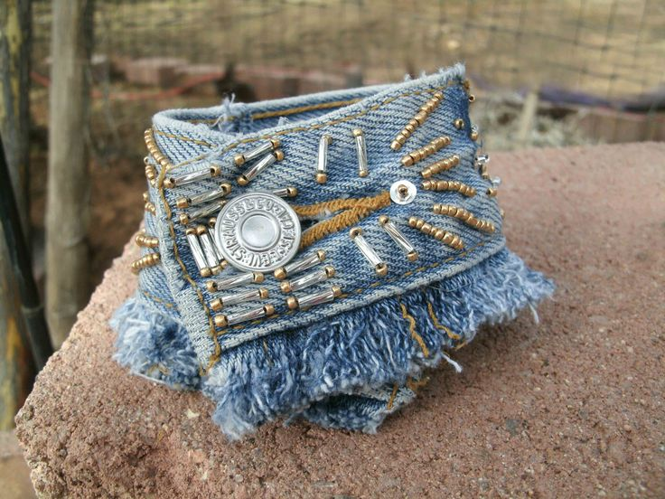 Beaded Denim Cuff Denim Bracelet Jeans by HorsetailsBeadwork, $18.00