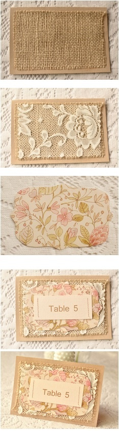 Reception Decor - Burlap, lace & cream/white/peach table number cards