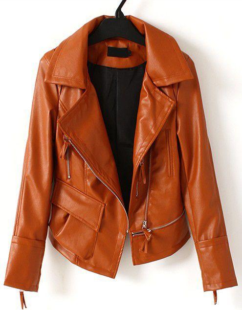 Brown Lapel Long Sleeve Zipper PU Jacket - Sheinside.com